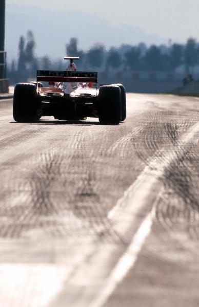Michael Schumacher (GER) Ferrari F2001 leaves the pits. Formula One Testing, Barcelona, Spain, 27-31 January 2002.