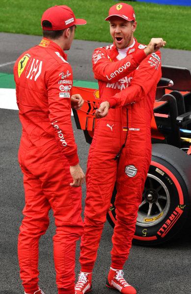 Sebastian Vettel, Ferrari and Charles Leclerc, Ferrari talking in Parc Ferme