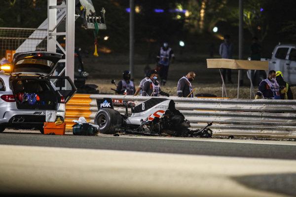 The remains of Romain Grosjean's Haas VF-20