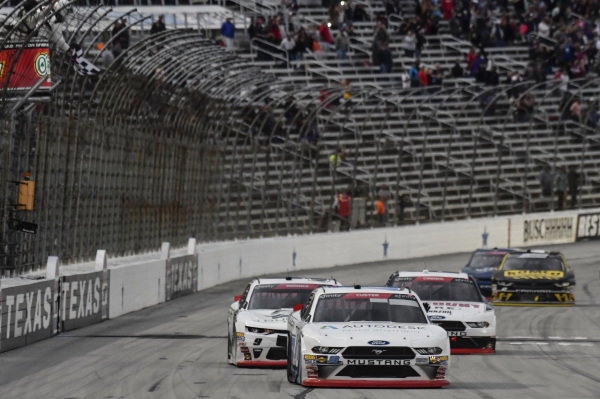 #00: Cole Custer, Stewart-Haas Racing, Ford Mustang Autodesk, crosses the finish line to win in Texas.