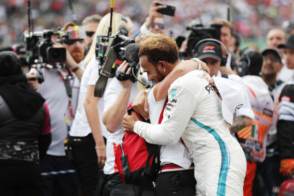 Lewis Hamilton, Mercedes AMG F1, celebrates after winning his fifth World Championship.