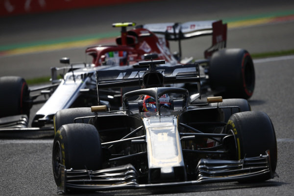 Romain Grosjean, Haas VF-19, leads Antonio Giovinazzi, Alfa Romeo Racing C38