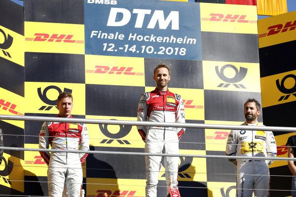 Podium: Race winner René Rast, Audi Sport Team Rosberg, second place Robin Frijns, Audi Sport Team Abt Sportsline, third place Timo Glock, BMW Team RMG.
