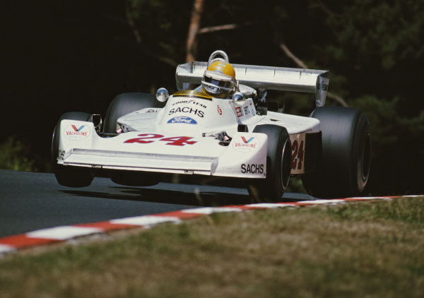 Harald Ertl, Hesketh 308D Ford, during practice.