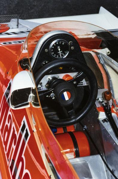The cockpit of Patrick Tambay's McLaren M26 Ford.