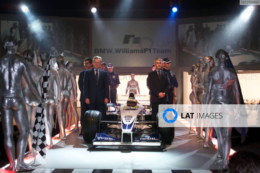 BMW WilliamsF1 Team launchMunich, Germany , 10th January 2000.Part of BMW's F1 engine development complex, partly linked to BMW's research and development centre in Munich.F1 driver Ralf Schumacher in the cockpit of the interim car surrounded by BMW and Williams team personel.Photo: LATTel: +44 (0)181 251 3000Fax: +44 (0)181 251 3001Somerset House, Somerset Road, Teddington, Middlesex, United Kingdon. TW11 8RU