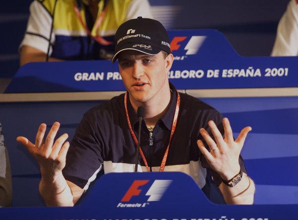 2001 Spanish Grand PrixCatalunya, Barcelona, Spain. 27-29 April 2001.Ralf Schumacher (Williams BMW) at a press conference.World Copyright - Steve Etherington/LAT Photographicref: 18 mb Digital Image