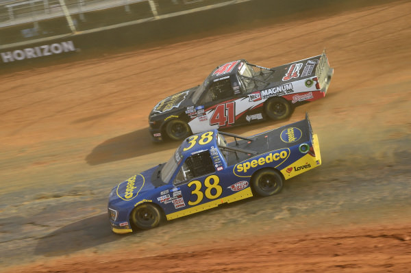 #38: Todd Gilliland, Front Row Motorsports, Ford F-150 Speedco, #41: Cody Erickson, Cram Enterprises, Chevrolet Silverado Cram Enterprises