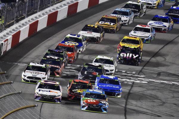 #11: Denny Hamlin, Joe Gibbs Racing, Toyota Camry FedEx Office and #18: Kyle Busch, Joe Gibbs Racing, Toyota Camry M&M's Hazelnut