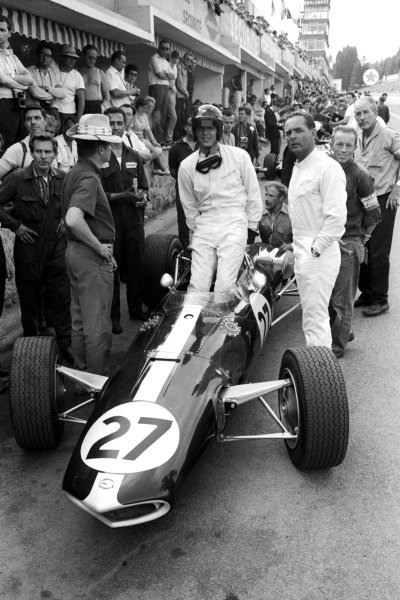 (L to R): Dan Gurney (USA) debuted his Eagle T1G but was too many laps down to be classified. Alongside him is Phil Hill (USA) who drove the camera car for the MGM film Grand Prix. Belgian Grand Prix, Spa-Francorchamps, 12 June 1966.