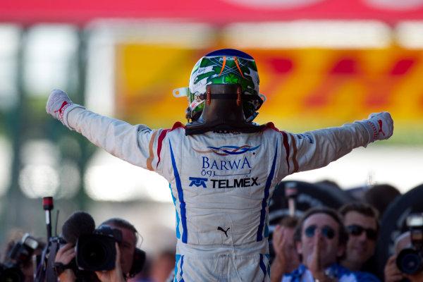 Silverstone, England. 11th July.Sunday Race. Sergio Perez (MEX, Barwa Addax Team) celebrates his victory.Photo: Andrew Ferraro/GP2 Media Service.Ref: __Q0C8223 jpg