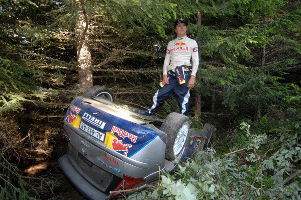 Kimi Raikkonen (FIN) Citroen C4 WRC crashes out 19km into stage 4. FIA World Rally Championship, Rd 7, Rally Bulgaria Day One, Borovets, Bulgaria, 9 July 2010.
