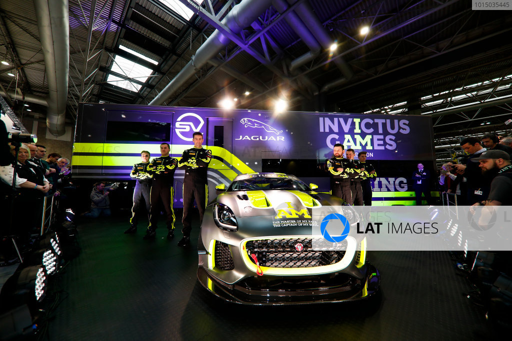 Autosport International Exhibition. National Exhibition Centre, Birmingham, UK. Thursday 11th January 2017. The Invictus Games Jaguar F-Type GT4 launch.World Copyright: Glenn Dunbar/LAT Images Ref: _31I2384