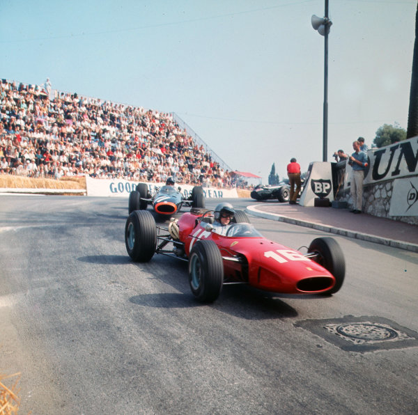 Monte Carlo, Monaco. 19-22 May 1966.Lorenzo Bandini (Ferrari 158/246) leads Graham Hill (BRM P261). They finished in 2nd and 3rd positions respectively.Ref-3/2085.World Copyright - LAT Photographic