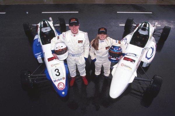 (L-R) Marino Franchitti (GBR) Danica Patrick (USA)General Testing, Silverstone, England, 6 November 1998