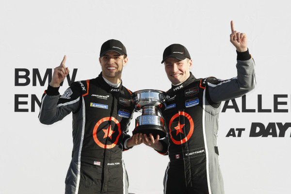 #75 Compass Racing McLaren GT4, GS, Paul Holton, Kuno Wittmer in victory lane, podium