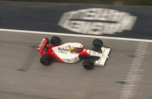 1991 San Marino Grand Prix.Imola, Italy.26-28 April 1991.Ayrton Senna (McLaren MP4/6 Honda) 1st position. Ref-91 SM 26.World Copyright - LAT Photographic