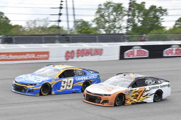 #7: Corey LaJoie, Spire Motorsports, Chevrolet Camaro Schluter Systems, #99: Daniel Suarez, TrackHouse Racing, Chevrolet Camaro Camping World