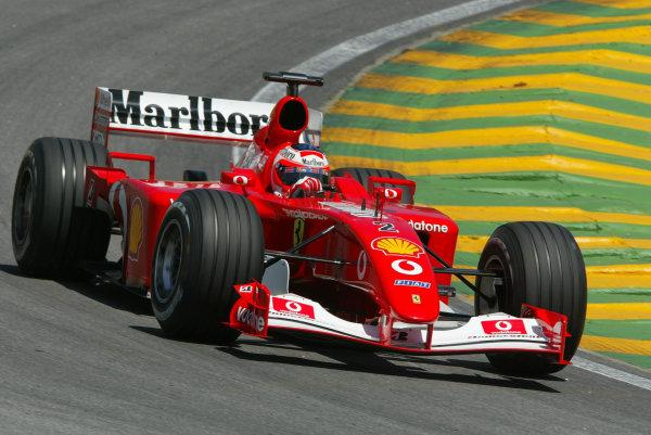2002 Brazilian Grand Prix - Friday PracticeInterlagoes, Sao Paulo. 29th March 2002Rubens Barrichello (Ferrari F2001). World Copyright - LAT Photographicref: Digital File Only