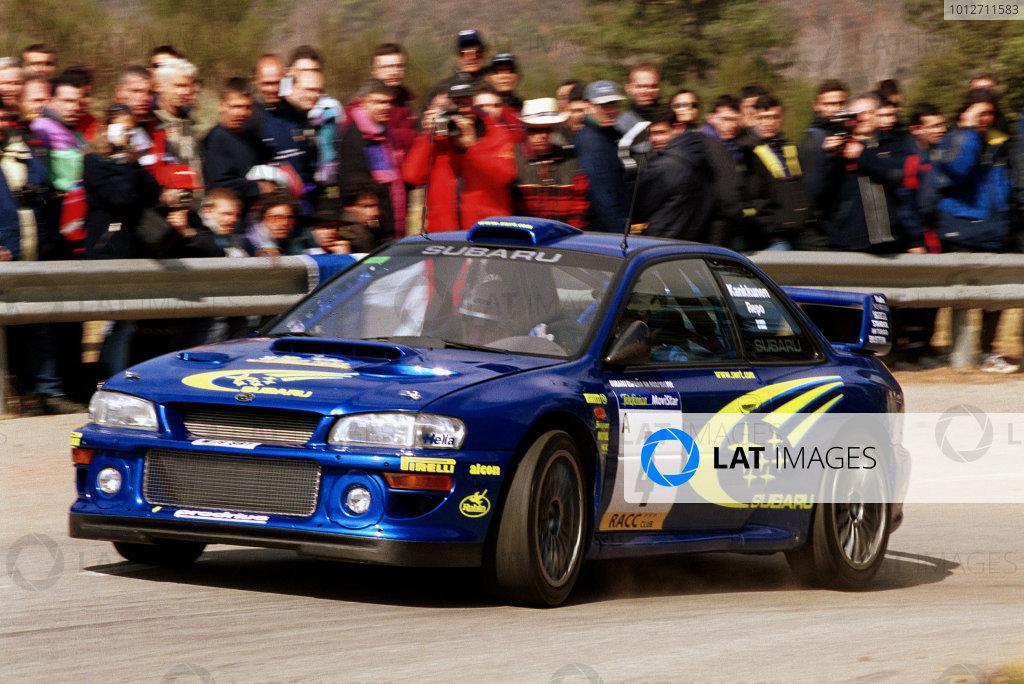 Juha Kankkunen in action in the Subaru Impreza WRC2000.