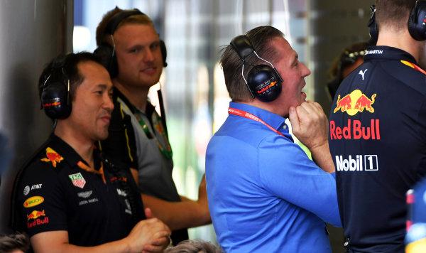 Jos Verstappen watches the race