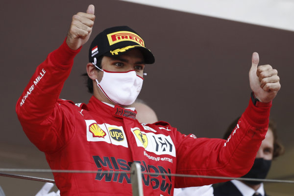 Carlos Sainz, Ferrari, 2nd position, on the podium