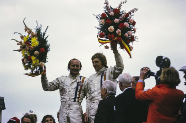 Winners Mike Hailwood and Derek Bell on the podium.