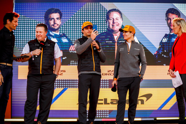 Mark Webber, Zak Brown, McLaren Executive Director, Carlos Sainz Jr, McLaren and Lando Norris, McLaren. Drivers on stage at the Federation Square event.