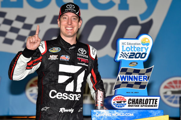 NASCAR Camping World Truck Series North Carolina Education Lottery 200 Charlotte Motor Speedway, Concord, NC USA Friday 19 May 2017 Kyle Busch, Cessna Toyota Tundra celebrates his win in Victory Lane World Copyright: Nigel Kinrade LAT Images ref: Digital Image 17CLT1nk04958