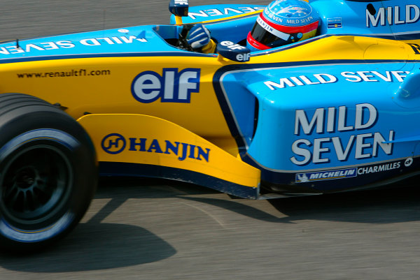 2003 San Marino Grand Prix - Saturday 2nd Qualifying,Imola, Italy.19th April 2003.Fernando Alonso, Renault R23, action.World Copyright LAT Photographic.ref: Digital Image Only.