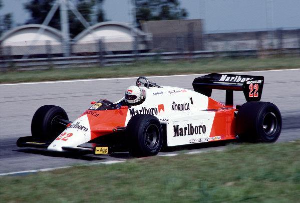 1983 Brazilian Grand Prix.Jacarepagua, Rio de Janeiro, Brazil.11-13 March 1983.Andrea de Cesaris (Alfa Romeo 183T).Ref-83 BRA 30.World Copyright - LAT Photographic