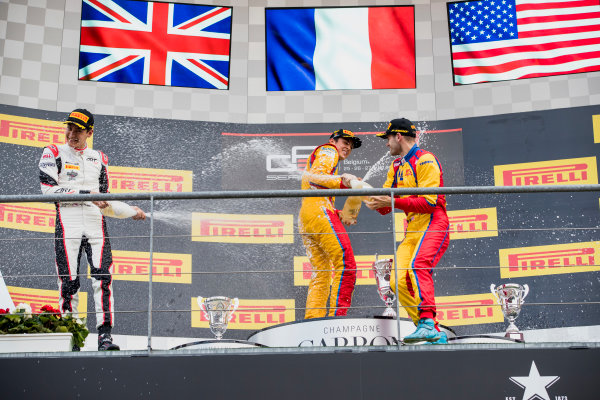 2017 GP3 Series Round 5.  Spa-Francorchamps, Spa, Belgium. Sunday 27 August 2017. George Russell (GBR, ART Grand Prix), Giuliano Alesi (FRA, Trident), Ryan Tveter (USA, Trident).  Photo: Zak Mauger/GP3 Series Media Service. ref: Digital Image _56I3108