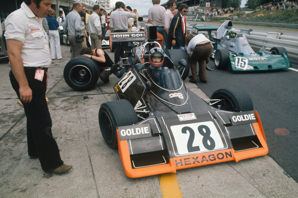 Nurburgring, Germany. 2nd - 4th August 1974.  John Watson (Brabham BT42 Ford) and Henri Pescarolo (BRM P201) in the pits.  Ref: 74GER09. World Copyright: LAT Photographic