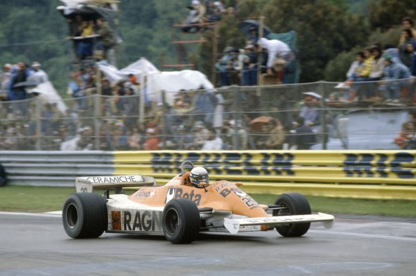 1981 San Marino Grand Prix.Imola, Italy. 1-3 May 1981.Riccardo Patrese (Arrows A3-Ford Cosworth), 2nd position.World Copyright: LAT PhotographicRef: 35mm transparency 81SM19