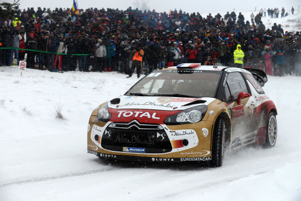 Sebastien Loeb (FRA) and Daniel Elena (MC), Citroen DS3 WRC on stage 9. FIA World Rally Championship, Rd1, Rally Monte Carlo, Day Two, Monte Carlo, 17 January 2013.