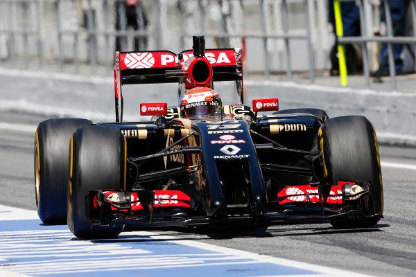 Circuit de Catalunya, Barcelona, Spain. Wednesday 14 May 2014. Pastor Maldonado, Lotus E22 Renault. World Copyright: Sam Bloxham/LAT Photographic. ref: Digital Image _SBL0380