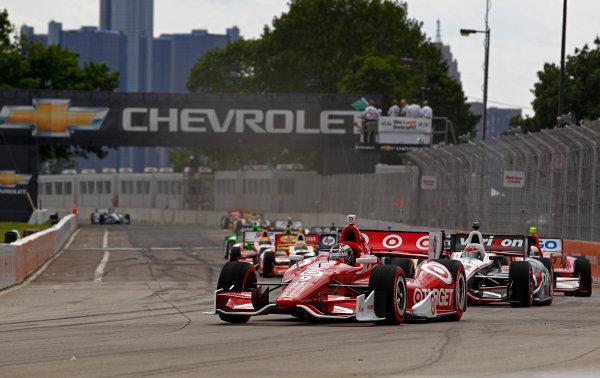 1-3 June, 2012, Detroit, Michigan, USAScott Dixon leads the field into turn one at the start.(c)2012, Phillip G. AbbottLAT Photo USA