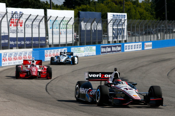 16-17 August, 2014, West Allis, Wisconsin USA Will Power leads Tony Kanaan and Juan Pablo Montoya ?2014, Lesley Ann Miller LAT Photo USA