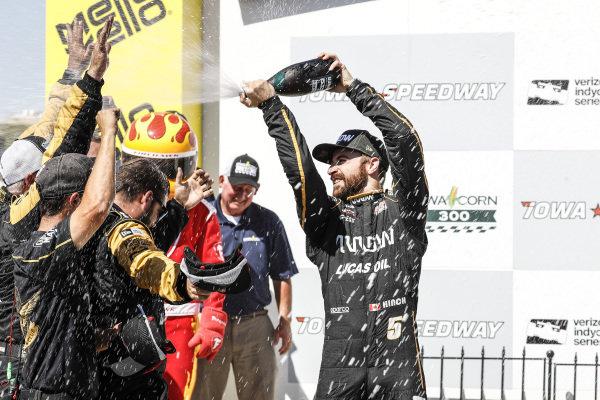 James Hinchcliffe, Schmidt Peterson Motorsports Honda, podium, champagne