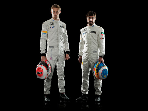 McLaren Honda MP4-30 Reveal Woking, UK. 29 January 2015 Jenson Button and Fernando Alonso. Photo: McLaren (Copyright Free FOR EDITORIAL USE ONLY) ref: Digital Image MH-Drivers-20150127-0504