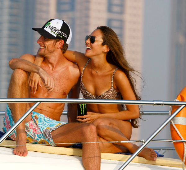 Yas Marina Circuit, Abu Dhabi, United Arab Emirates28th October 2009.Jenson Button and Jessica Michibata are reunited post Jenson winning the Formula One world championship. Spending time together on a cruise around the marina the couple enjoy some much anticipated time to themselves between Jenson's training schedule. Jenson travels to Abu Dhabi later today for the final F1 race of the season.World Copyright: Charles Coates/LAT Photographic ref: Digital Image _26Y5493