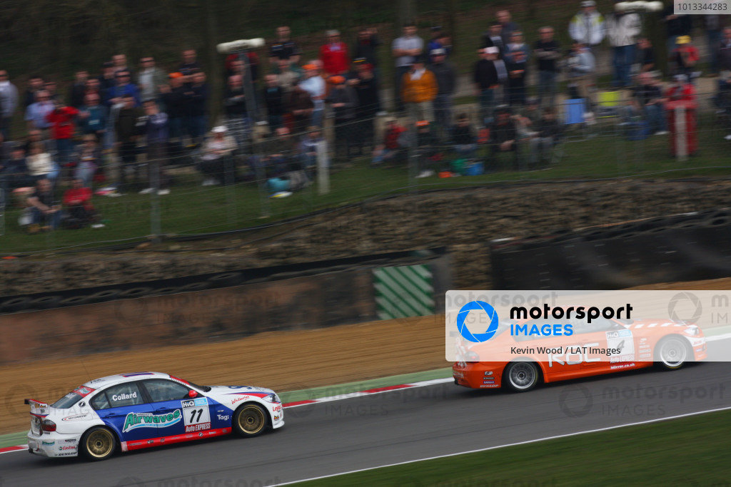 Brands Hatch, UK. 5th April 2009. Rds 1,2,3. Rob Collard, Motorbase BMW, about to pass Colin Turkington, WSR BMW, for the lead at druids. Action. World Copyright: Kevin Wood/LAT Photographic Ref: Digital Image IMG_8999a