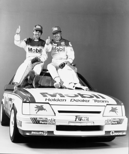 1986 Australian V8 Supercars.Peter Brock and Allan Moffat, Holden Commodore, portrait.Photo: LAT Photographic .Ref:B/W Print Only.