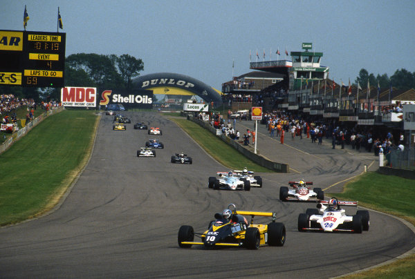 Alessandro Nannini (ITA) Minardi SRL, Jo Gartner (AUT) Emco Sports, and Kazuyoshi Hoshino (JPN) James Gresham Racing, March 832 - BMW/Mader in the top three positions. European Formula 2 Championship, Rd8, Donington Park, England, 25 June 1983.