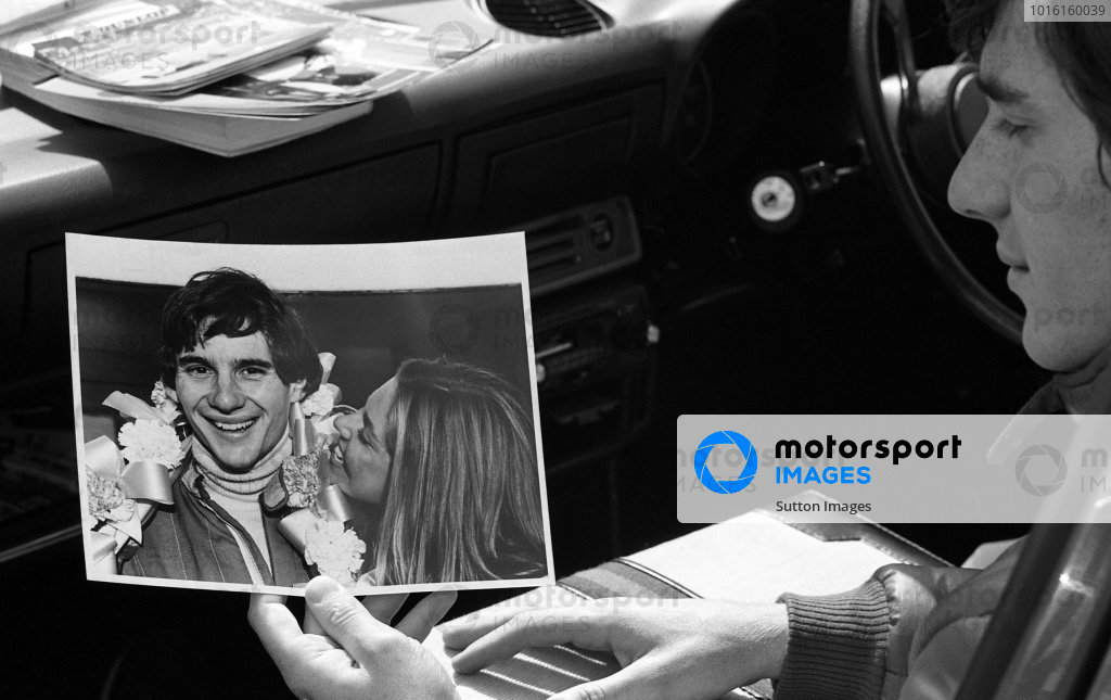 Race winner Ayrton Senna da Silva (BRA) looks at a photo showing him celebrating with his wife Liliane his first victory at Brands Hatch earlier in the season. Townsend Thoresen Formula Ford 1600 Championship, Oulton Park, England, 27 June 1981.