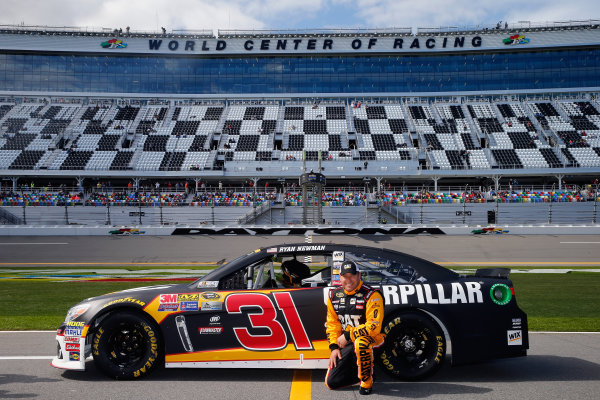 13-21 February, 2016, Daytona Beach, Florida USA   Ryan Newman, driver of the #31 CAT Chevrolet, poses with his car after qualifying for the NASCAR Sprint Cup Series Daytona 500 at Daytona International Speedway on February 14, 2016 in Daytona Beach, Florida.   LAT Photo USA via NASCAR via Getty Images