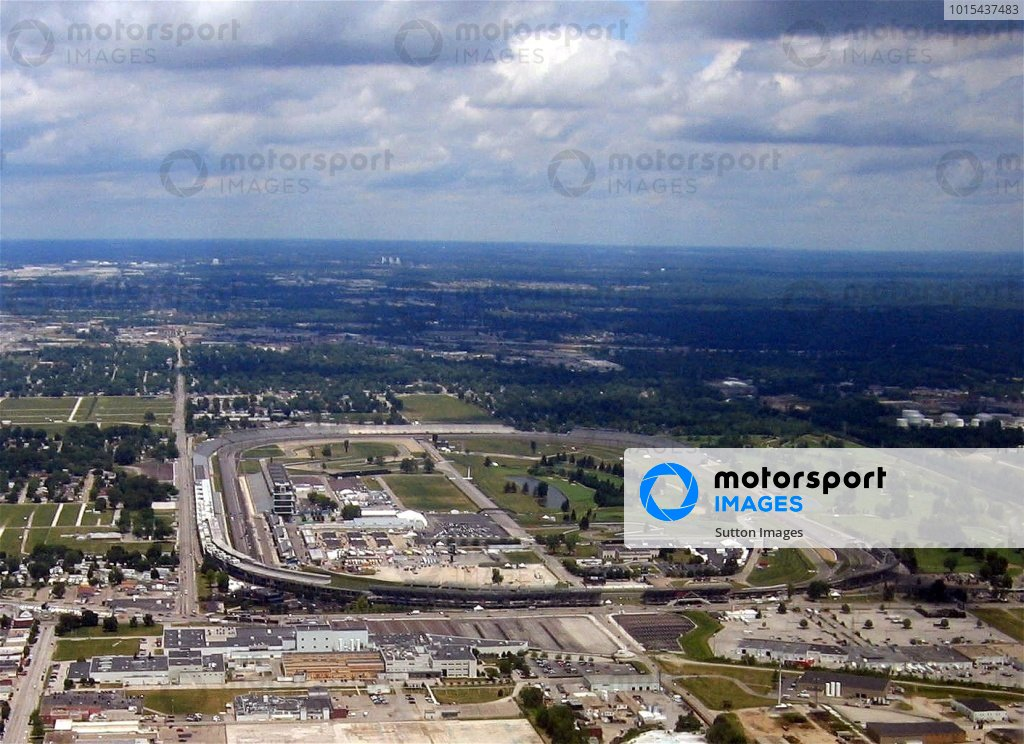 An aerial view of the Indianapolis Motor Speedway.