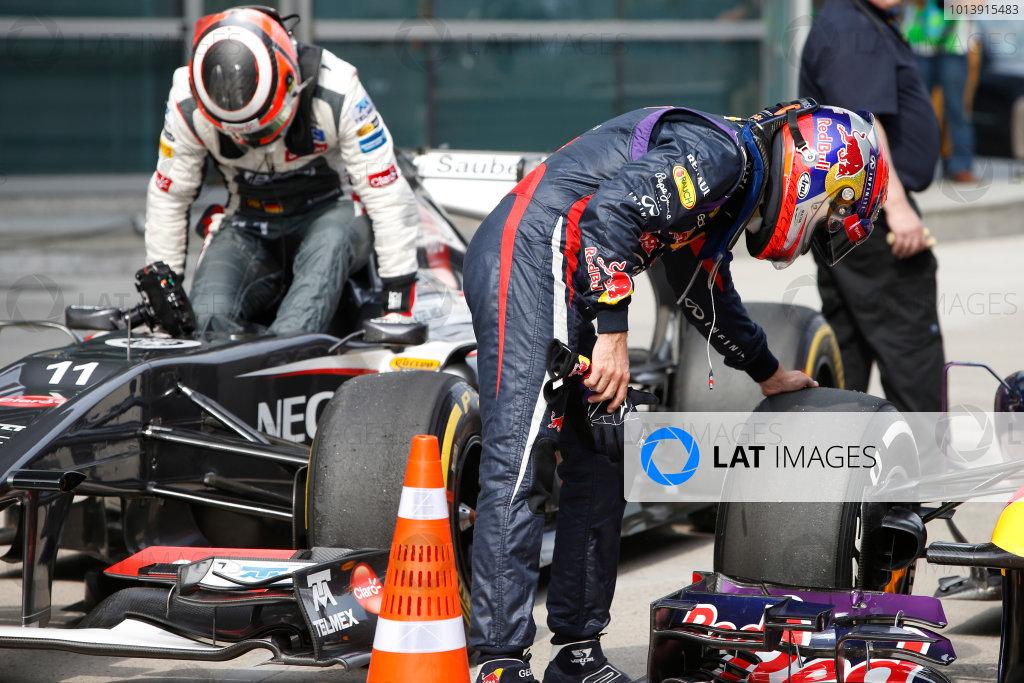 Shanghai International Circuit, Shanghai, China Saturday 13th April 2013 Sebastian Vettel, Red Bull Racing, and Nico Hulkenberg, Sauber F1, arrive in Parc Ferme. World Copyright: Glenn Dunbar/LAT Photographic ref: Digital Image _89P7241