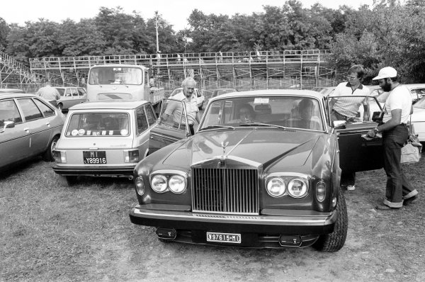 1978 Italian Grand Prix.Monza, Italy. 10 September 1978.Mario Andretti gives Colin Chapman and Ronnie Peterson a lift in his Rolls-Royce. Peterson was killed at the start of the race.World Copyright: LAT PhotographicRef: Black & print
