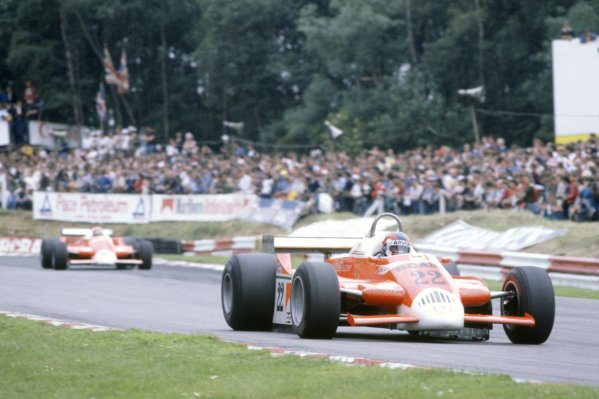 1980 British Grand Prix.Brands Hatch, Great Britain. 11-13 July 1980.Patrick Depailler leads Bruno Giacomelli (Alfa Romeo 179B).World Copyright: LAT PhotographicRef: 35mm transparency 80GB04